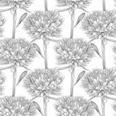 çiçekler aster ile siyah beyaz sorunsuz arka plan — Stok Vektör