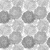 black and white seamless pattern in roses with contours — Stock Vector