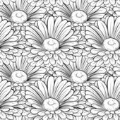 Vacker sömlös bakgrund med enfärgade svarta och vita blommor. — Stockvektor