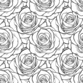 Beautiful black and white seamless pattern in roses with contours. — Stock vektor