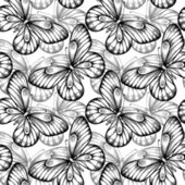 Seamless background of butterflies black and white colors. — Stok Vektör