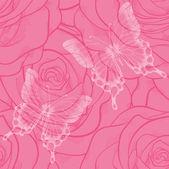 Plano de fundo sem emenda com borboletas e flores rosas — Vetor de Stock