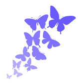Background with a border of butterflies flying. — Stock Vector