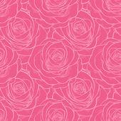 Bezešvé vzor růže s obrysy. — Stock vektor