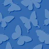 Seamless background with butterflies silhouettes in blue colors. — Stock Vector