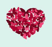 Concevoir avec papillons en forme de coeur. — Vecteur