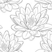 Beautiful monochrome, black and white seamless pattern with lotus flowers. — Stock Vector