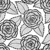 Seamless black and white pattern in roses and leaves lace. — Stock Vector