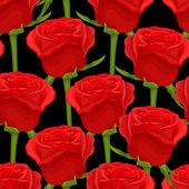 όμορφη ομοιογενές φόντο με κόκκινα τριαντάφυλλα σε μαύρο — Διανυσματικό Αρχείο