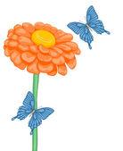 Bellissimo sfondo con lo spazio per il testo con fiori margherite e farfalle — Vettoriale Stock
