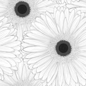Beautiful monochrome, black and white seamless background with gerbera flower . — Stock Vector