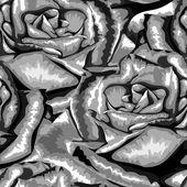 バラの美しい白黒、黒と白のシームレスな背景. — ストックベクタ