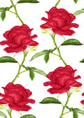 Beautiful seamless background with pink roses with stem and leaves on white background. — Stock Vector