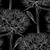 Beautiful monochrome, black and white seamless background with flowers aster. — Wektor stockowy