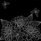 Beautiful monochrome black and white background with frame of dahlia flowers and butterflies. — Stock Vector