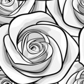 Beautiful monochrome, black and white seamless background with roses. — Stock Vector