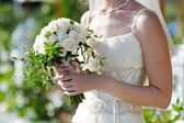 Wedding bouquet in the hands of bride — Photo