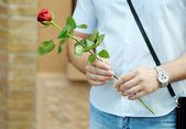 Man with flower — Stock Photo