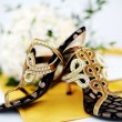 Wedding shoes with glitters decoration — Stock Photo