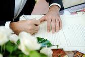 Oczyszczenie podpisanie licencji małżeństwa lub ślubu umowy — Zdjęcie stockowe