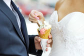 Bride with an ice-cream — Stock Photo