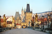 Charles Bridge and Lesser Town Tower, Prague — Stock Photo
