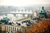 Panoramic view of Charles bridge on Vltava, Prague — Stock Photo