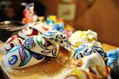 Beautiful masks in a workshop of craftsmen,Venice — Stockfoto