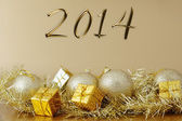 Happy new year 2014 - Christmas decoration — Stock Photo