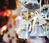 Christmas tree decoration bell with ribbon — Stok fotoğraf