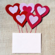 Stock Photo: Blank Valentines card with red hearts
