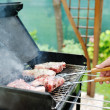 Meat for a barbecue outdoors — Stock Photo
