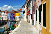 Venice, Burano island canal and colorful houses, Italy — Stock Photo