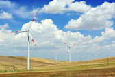 Windturbine generatoren - energiebesparing ecologie concept — Stockfoto