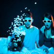 Stock Photo: Love couple in 3D glasses at home