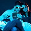 Love couple in 3D glasses at home  — Foto Stock