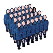 Faceless crowd with an exception — Stock Photo
