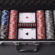 Different color chips for gamblings in box — Stock Photo #13160597