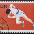 Sprinter postage stamp — Stock Photo