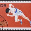 Sprinter postage stamp — Stock Photo