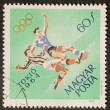 Olimpic soccer postage stamp — Stock Photo