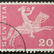 Helvetia postage stamp — Stock Photo
