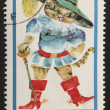 Puss in boots postage stamp — Stock Photo