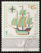 Old sailing vessel posage stamp — Stock Photo