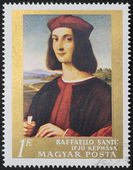 Raphael portrait postage stamp — Stock Photo