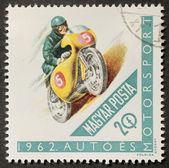 Motocycliste timbre-poste — Photo