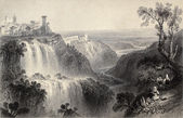 Antique illustration of Tivoli waterfalls, near Rome, Italy. Original, created by W. H. Bartlett and E. Brandard, was published in Florence, Italy, 1842, Luigi Bard — Stock Photo