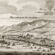 Messina and Etna old map — Stok fotoğraf