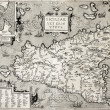 Foto Stock: Sicily old map with Syracuse detail