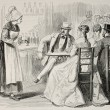 Antique illustration of a waitress attending to customers in a bar — Stock Photo #13297323